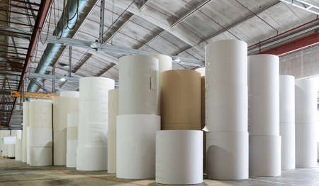 paper factory: for the production of cardboard packaging paper factory Stock Photo
