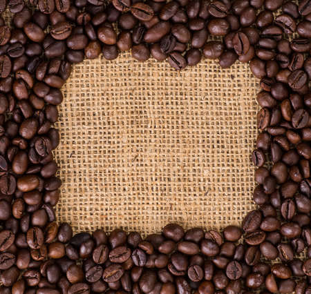 coffeetree: Canvas and Coffee Beans. Stock Photo