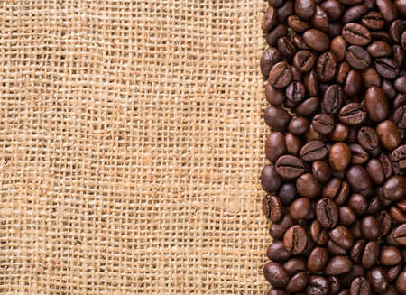 coffee to go: Canvas and Coffee Beans. Stock Photo