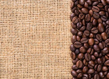 planta de cafe: Lona y granos de café. Foto de archivo
