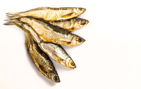 gill: Fish dried ram it is isolated on a white background Stock Photo
