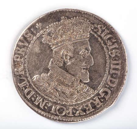 obverse: Antique silver Polish coin. King Sigismund III Vasa. Obverse. Isolated on white Stock Photo