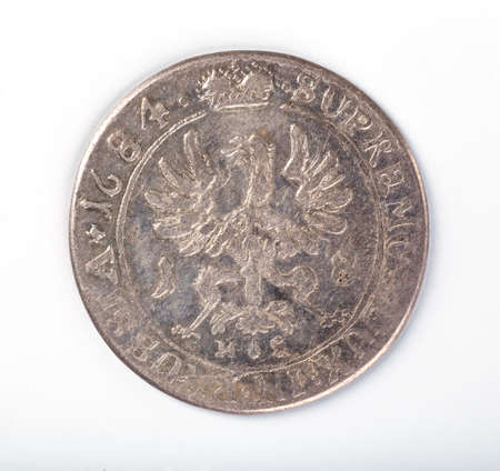 polish lithuanian: Antique silver Polish coin. King Sigismund III Vasa. Obverse. Isolated on white Stock Photo