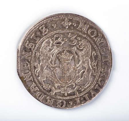 iii: Antique silver Polish coin. King Sigismund III Vasa. Obverse. Isolated on white Stock Photo