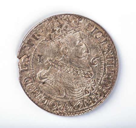 hoary: Antique silver Polish coin. King Sigismund III Vasa. Obverse. Isolated on white Stock Photo