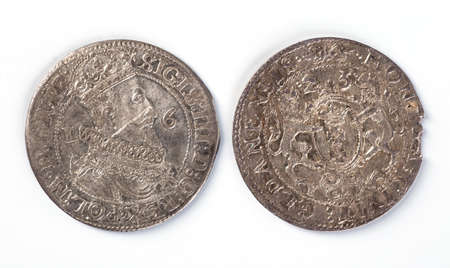 calibre: Antique silver Polish coin. King Sigismund III Vasa. Obverse. Isolated on white Stock Photo
