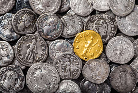 Coins of the Roman Empire, gold and silver.