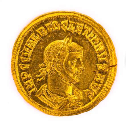 emperor: Gold coin of the Roman emperor Diokletianf, 284-305 AD. Stock Photo