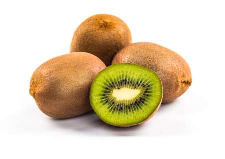 segments: Kiwi cut segments on a white background