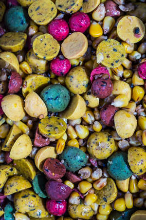 Boilies, fishing baits, close up. Stock Photo