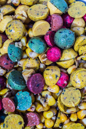 baits: Boilies, fishing baits, close up. Stock Photo
