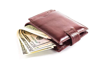mens wallet money in cash white background Stock Photo