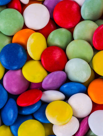 Closeup of colorful candies as texture