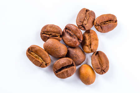 decaf: Coffee beans with white background for copy space.