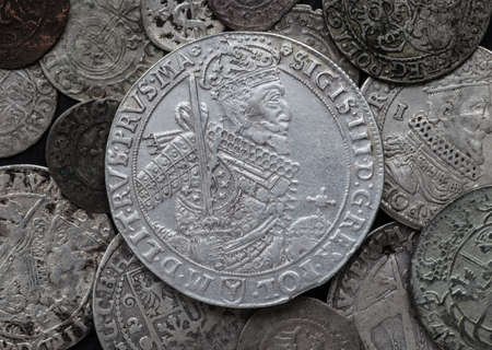 thaler: old taler silver coins background.Zygmunt III Waza Stock Photo