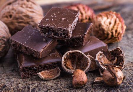 Chocolate bar chocolate bar pieces  nut chocolate chocolate background Stock Photo