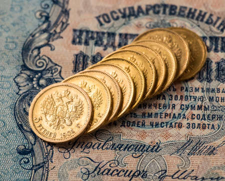 Gold towers made out of gold coins.Five rubles Nicholas II.