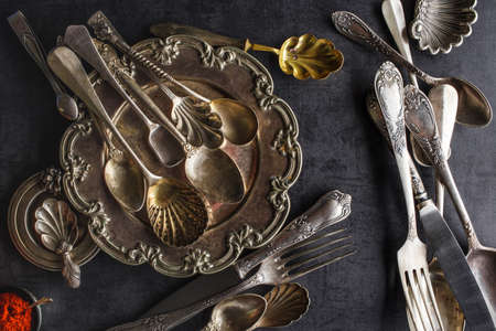 Vintage spoons, forks and knifes Archivio Fotografico