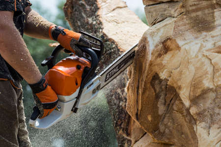 Khmelnitsky. Ukraine. June 22, 2019.Stihl chainsaw in Khmelnitsky. Stihl is a German manufacturer of chainsaws and other handheld power equipment