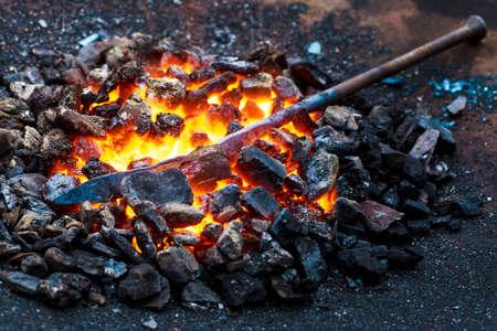 The blacksmiths anvil is made of forged or cast steel. Furnace for blacksmiths. Equipment for forging steel. Blacksmiths Festival of craftsmanship, street exhibition of forging metal.