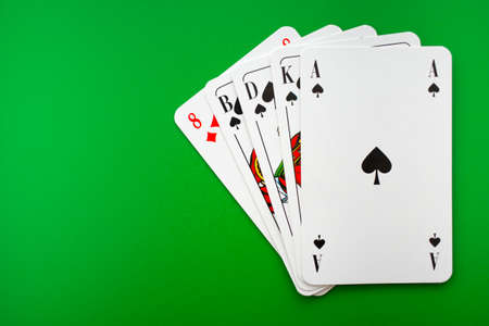 playing cards on green table in cacino,poker 스톡 콘텐츠