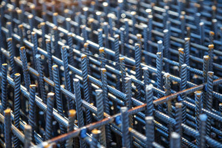 Industrial background. Preparation for pouring concrete. Construction of buildings of reinforced concrete.steel reinforcement bar texture in construction site,Closeup of Steel rebars
