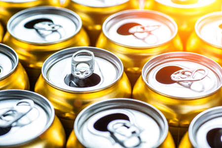 Golden beer cans.Aluminium cans without logo or trademark on them