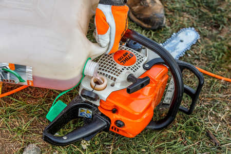 Ukraine Kiev June 22, 2019.Stihl chainsaw in Kiev. Stihl is a German manufacturer of chainsaws and other handheld power equipment Banco de Imagens