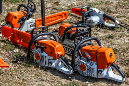 Ukraine Kiev June 22, 2019.Stihl chainsaw in Kiev. Stihl is a German manufacturer of chainsaws and other handheld power equipment Stok Fotoğraf