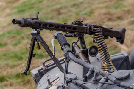 Machine gun of the German Army Wehrmacht MG-42 mounted on a motorcycle cradle,German machine gun of the times of World War II