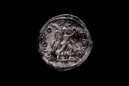 Roman coin, AR Denarius,Maximinus, Rome mint, 236-238 AD., ,Ancient roman coin with portrait of emperor isolated on black