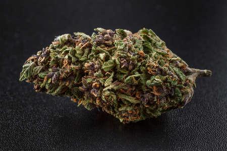 Medical marijuana flower buds. Recreational marijuana strain. Cannabis strain. Dispensary menu. Hemp buds.isolated on black - medical marijuana concept