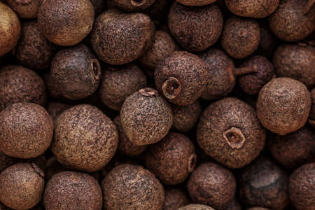Peppercorn background. Dry black pepper seeds. Top view. Flat design. Macro spice background 스톡 콘텐츠 - 148969712