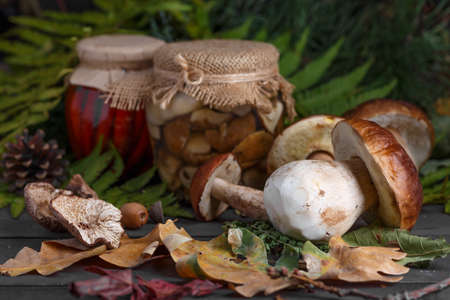 Mushroom Boletus in wooden wicker basket. Boletus edulis over Wood Background, close up on rustic table.  Cooking delicious organic mushroom. Gourmet food,Autumn Cep Mushrooms. Mushrooms Picking 스톡 콘텐츠