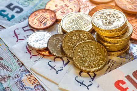 British coins stack on black, pound sterling,Business concept 스톡 콘텐츠 - 148666061