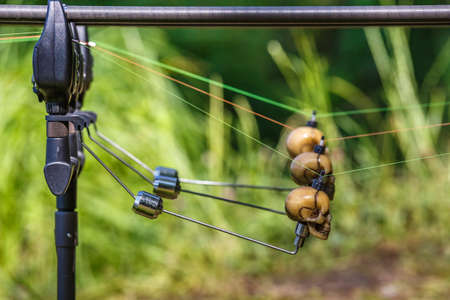 Fishing adventures, Carp rods with skull-shaped bite indicators mounted on a rod by a lake river.Professional fishing equipment