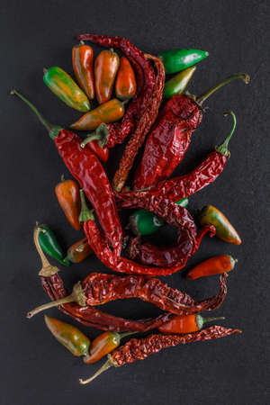 Hot pepper.a colorful blend of the freshest and hottest chili peppers.chili pepper isolated on black