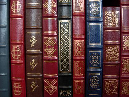 caso: Una hilera de libros  Foto de archivo