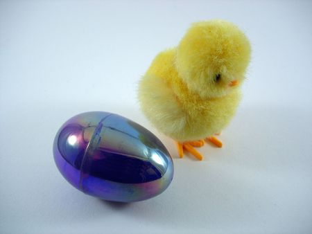 An Easter egg next to a chick