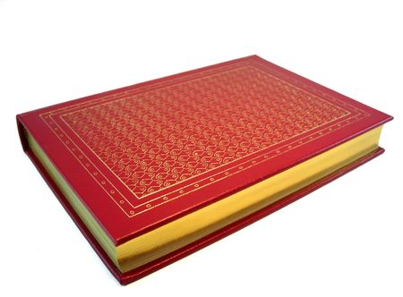 A leather bound hard cover book on a white background Stock Photo