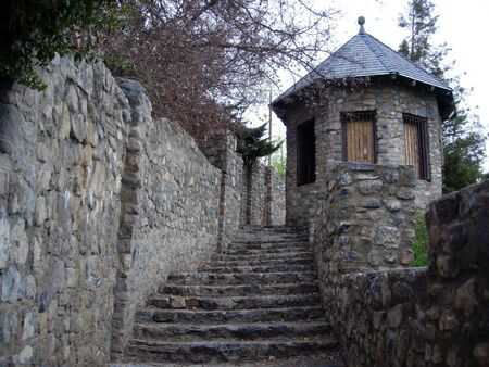 A stone stairway leading to a tower Stock Photo