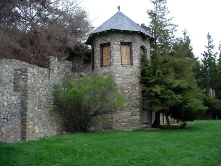 An old stone tower and wall Stock Photo