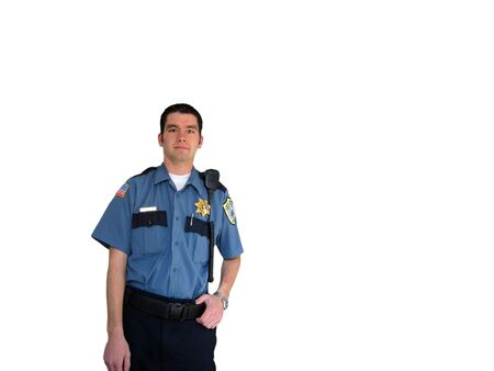 enforce: A police officer standing in his uniform on a white background Stock Photo
