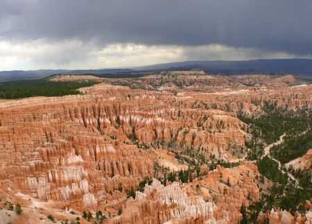 A wide-angle photograph of Bryce Canyon National Park Stock Photo