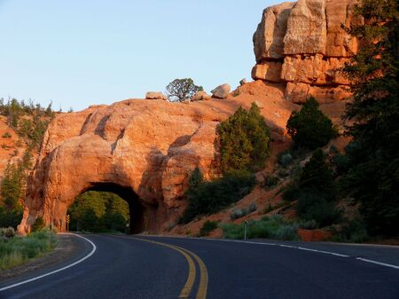 A road going through a tunnel carved out of rock
