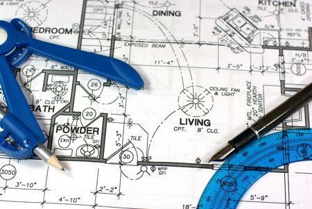 floorplan: A blueprint floorplan with various equipment on top