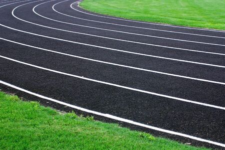 A picture of an oval running track photo