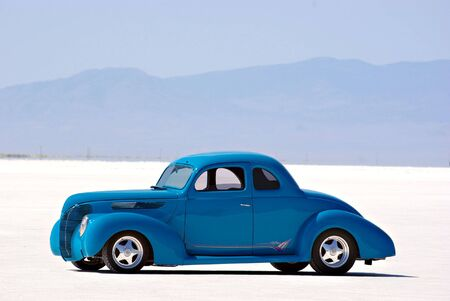 street rod: An old classic car on the Bonneville Salt Flats