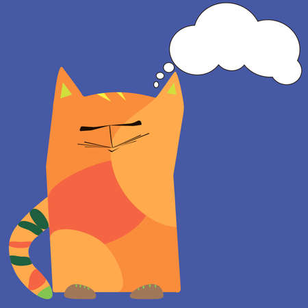 dissatisfied cat on a white background Illustration