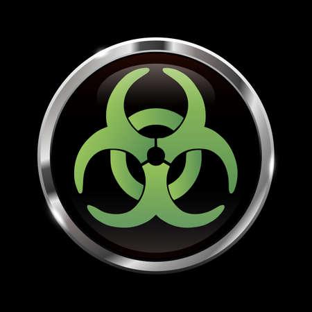 riesgo biologico: Brillante se�al de peligro biol�gico Vectores